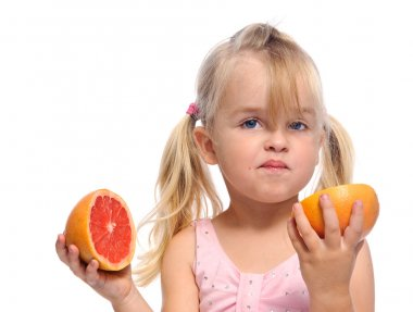Girl has sour fruit face