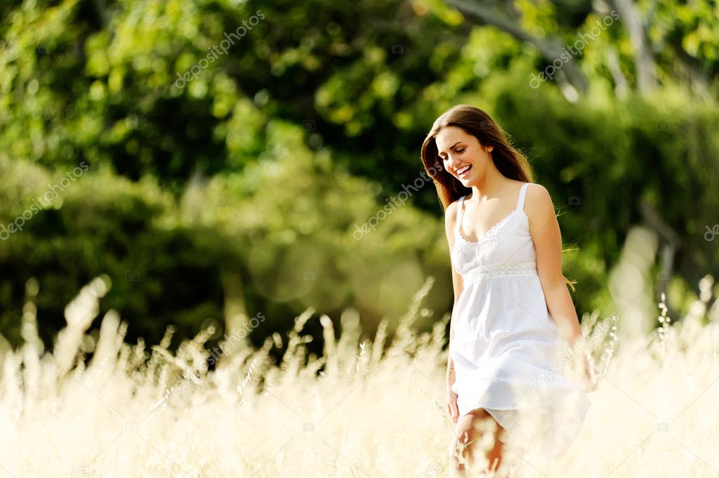 Carefree walking woman