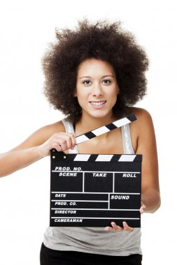 Beautiful african american woman holding a clapboard, isolated on white stock vector