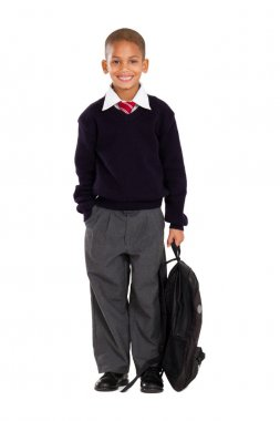 Portrait of male elementary pupil on white