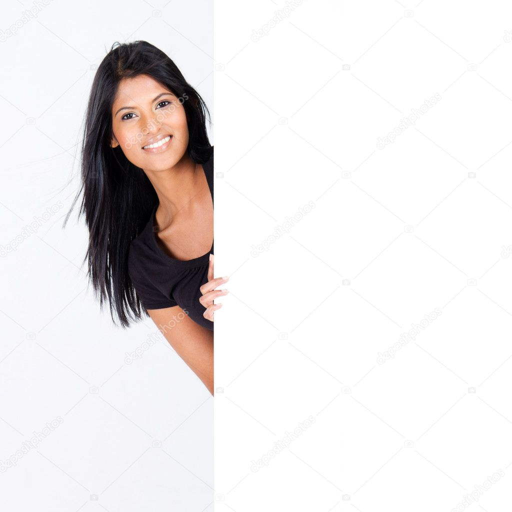 Attractive woman behind blank white board