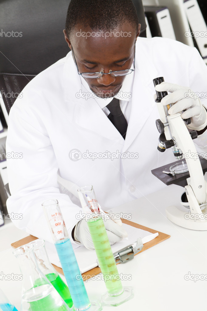 Male african american lab technician study in laboratory