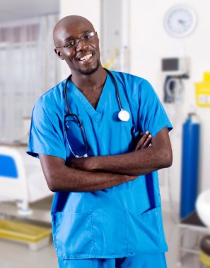 Young male african doctor in hospital