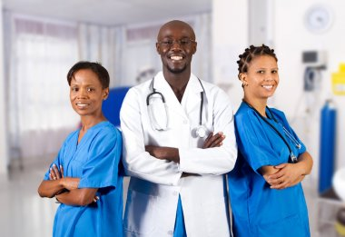 Group of african american doctor and nurse