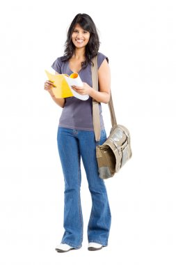 Full length portrait of young female college student