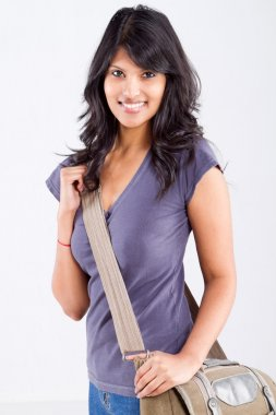 Female college student with a shoulder bag
