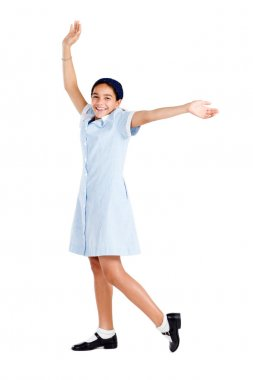 Cute preteen school girl isolated on white