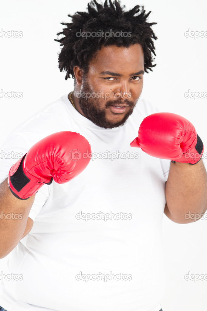 African American With Boxing Gloves Stock Photo