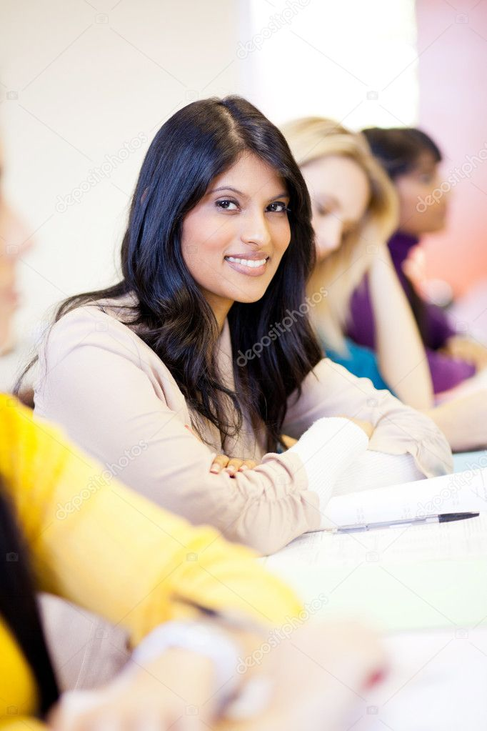 Attractive female college students in classroom