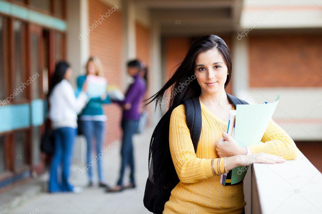 Pretty female university student