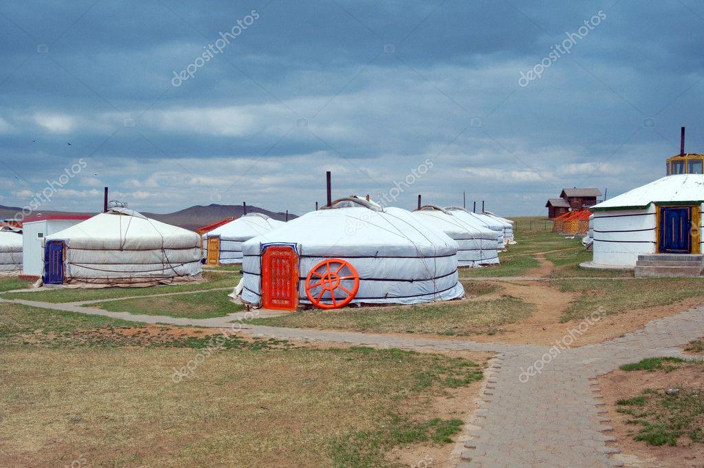 White Mongolian yurts in the Gobi Desert