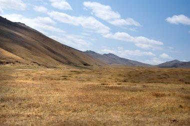 Blue sky over the vast Mongolian steppes