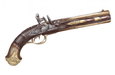 Dutch two barrel flintlock pistol by Johann Kuchenreiter (late 1