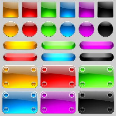 Glossy Buttons Set - colored illustration stock vector