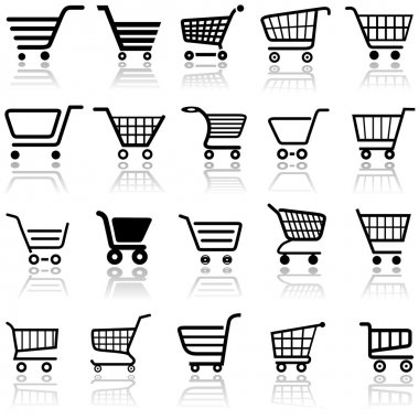 Shopping Cart Sign - Set of Black Icons, Illustration stock vector