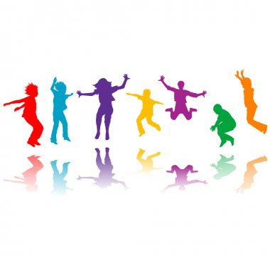 Group of hand drawn children silhouettes jumping