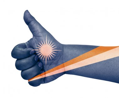 Marshall Islands flag on thumb up gesture like icon