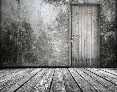 Room interior with old door