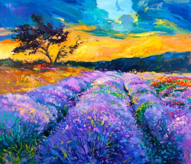 Original oil painting of lavender fields on canvas.Modern Impressionism stock vector