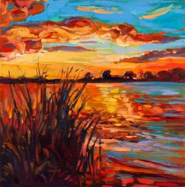 """Картина, постер, плакат, фотообои """"закат по озеру"""", артикул 12388267"""