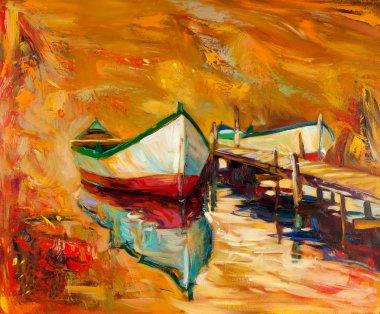 """Картина, постер, плакат, фотообои """"лодки и пирс"""", артикул 12388294"""