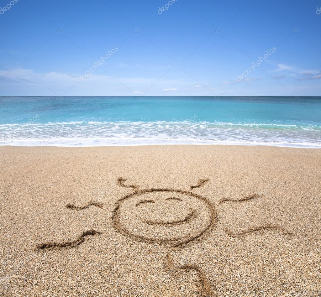 Happy sun on the beach with clear sky