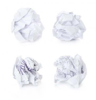 Set of Office Crumpled Paper Balls / blank and used up / isolat