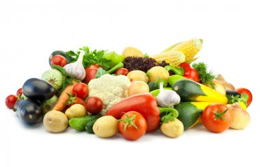 Healthy Eating / Assortment of Organic Vegetables / Isolated