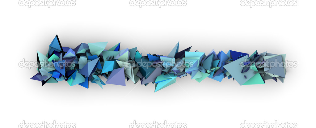 Blue 3d Abstract Modern Sculpture On White Stock Photo