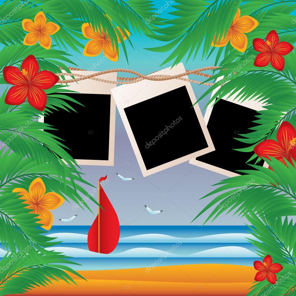 Three photoframes in style a skrapbooking, vector illustration