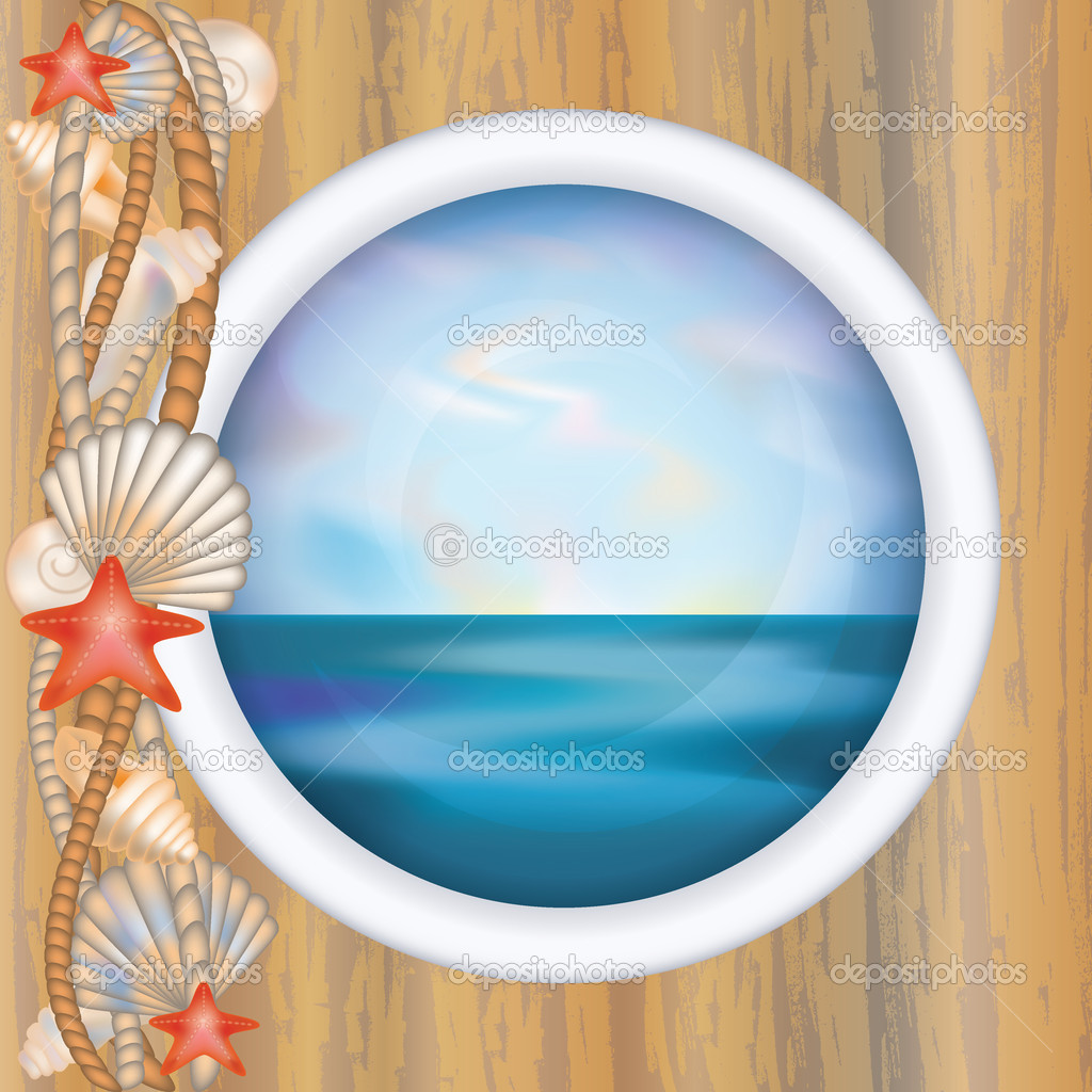 Porthole window with ocean scene, vector illustration