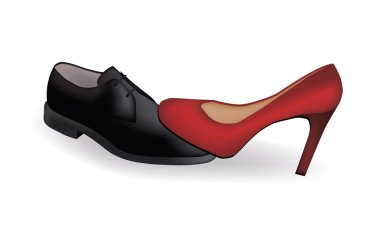 Female and man's shoes, vector illustration