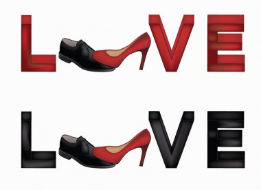 Love banner with female and man's shoes, vector