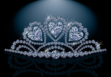 Princess diadem with diamond hearts, vector illustration