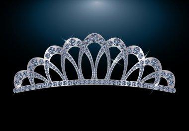 Silver diamond diadem, vector illustration