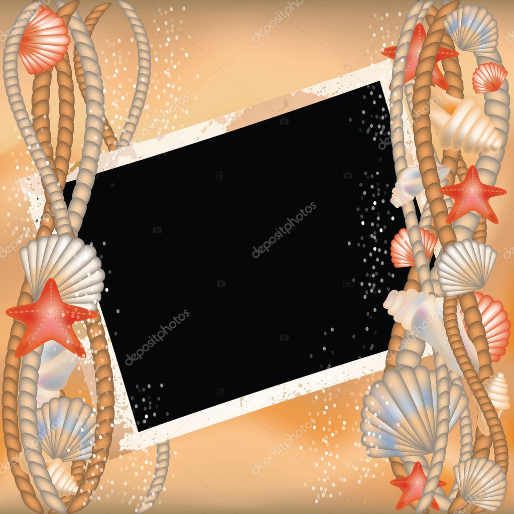 Photo frame with seashells in style scrapbooking, vector