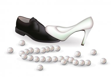 Wedding shoes and pearls, vector illustration
