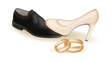 Wedding shoes and golden rings, vector illustration