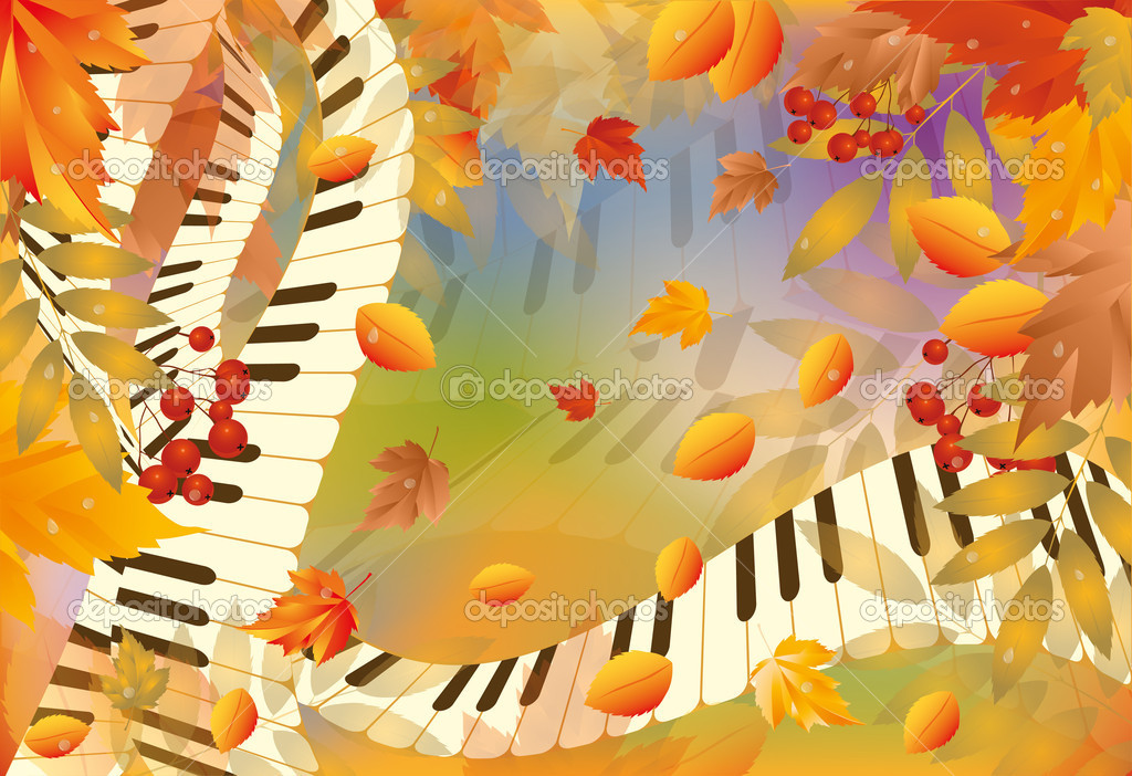 Musical autumn card. vector illustration