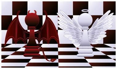 Two pawns. vector illustration