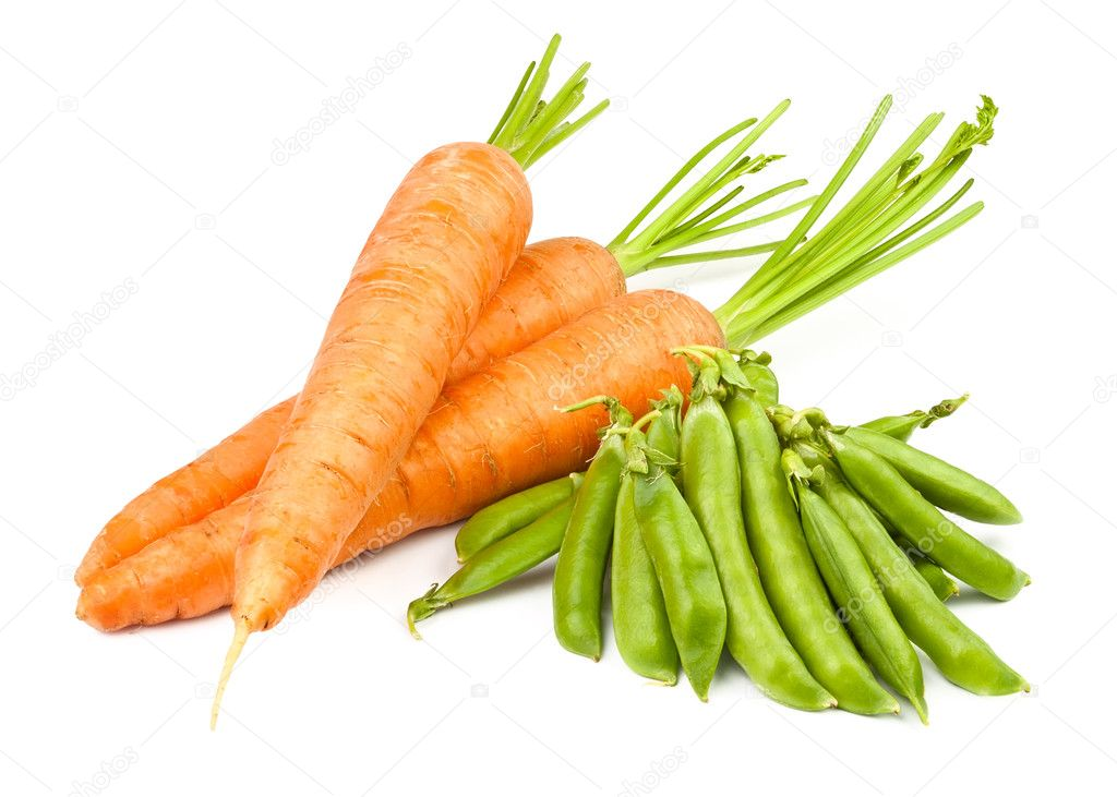 Carrots and peas pod