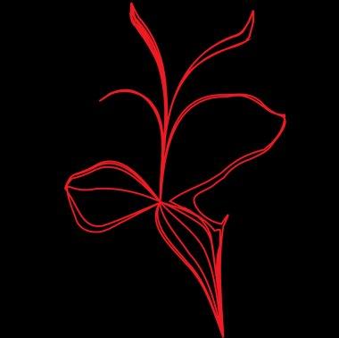 Vector red flower illustration on black