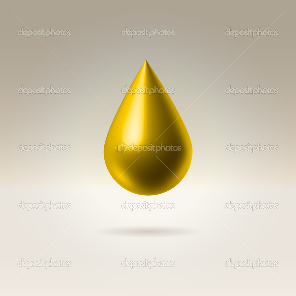 Golden droplet hanging in space