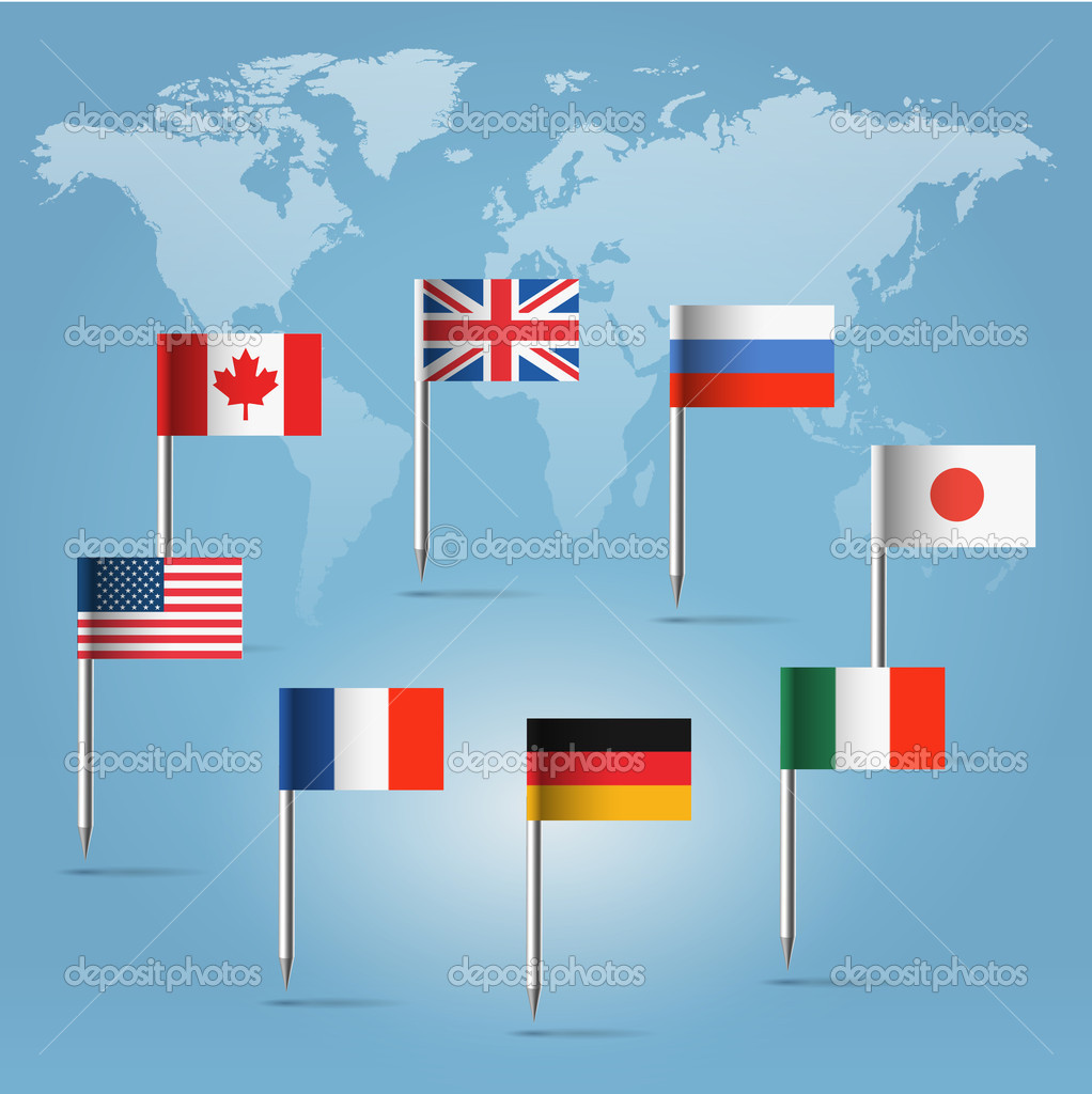 G8 flag pins over world map silhouette stock vector illuland glossy beautiful pin flags of canada germany russia uk italy france usa and japan hanging in round over light blue world map silhouette vector by gumiabroncs