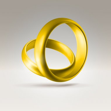 Shining golden wedding couple rings