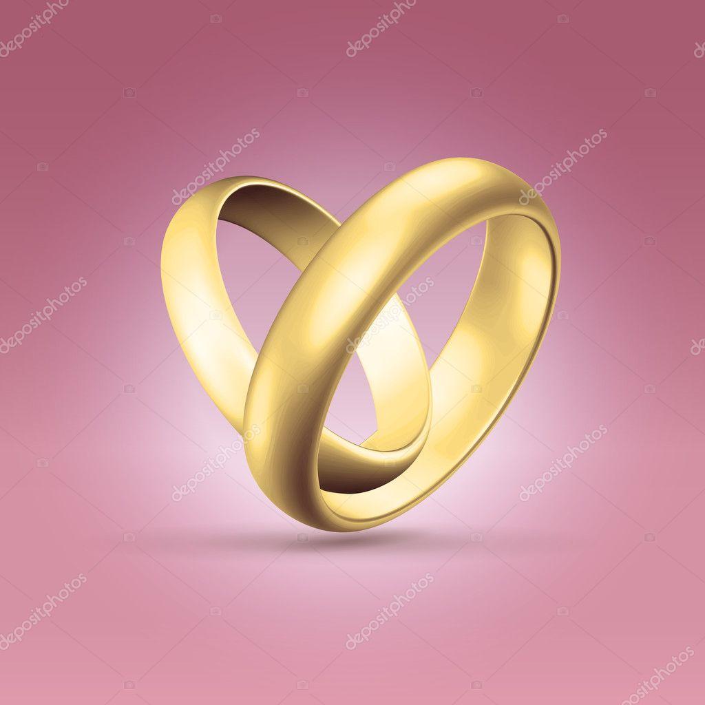 Shining golden wedding couple rings — Stock Vector © illuland #11637238