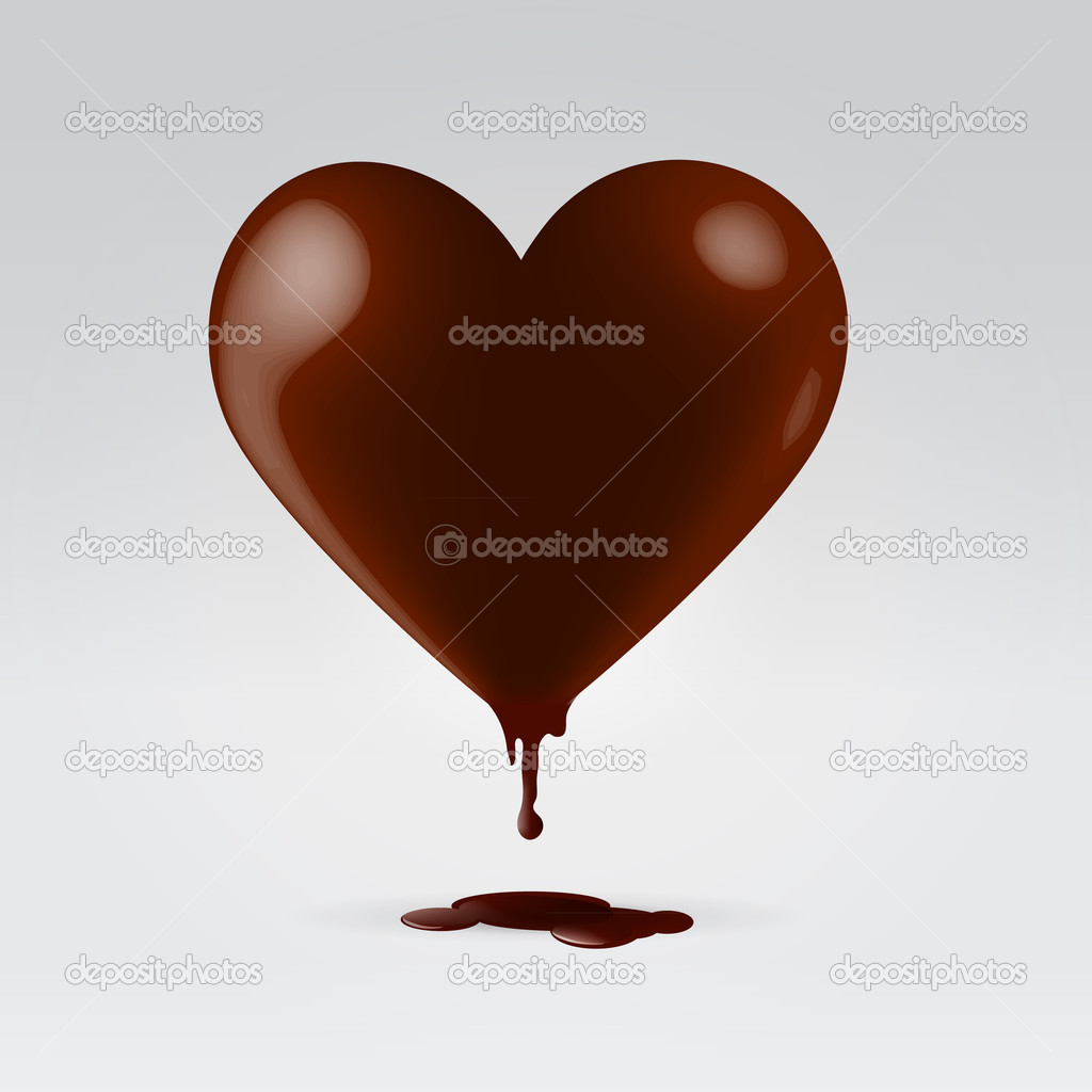Glossy chocolate brown heart shaped candy melts clipart vector