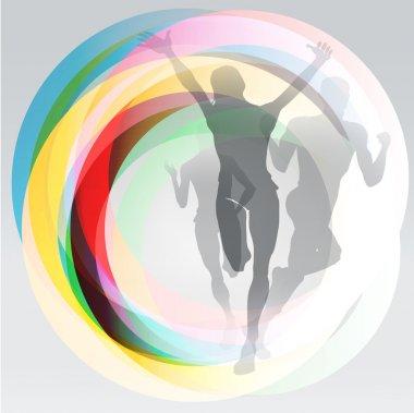 Free runners sport concept illustration