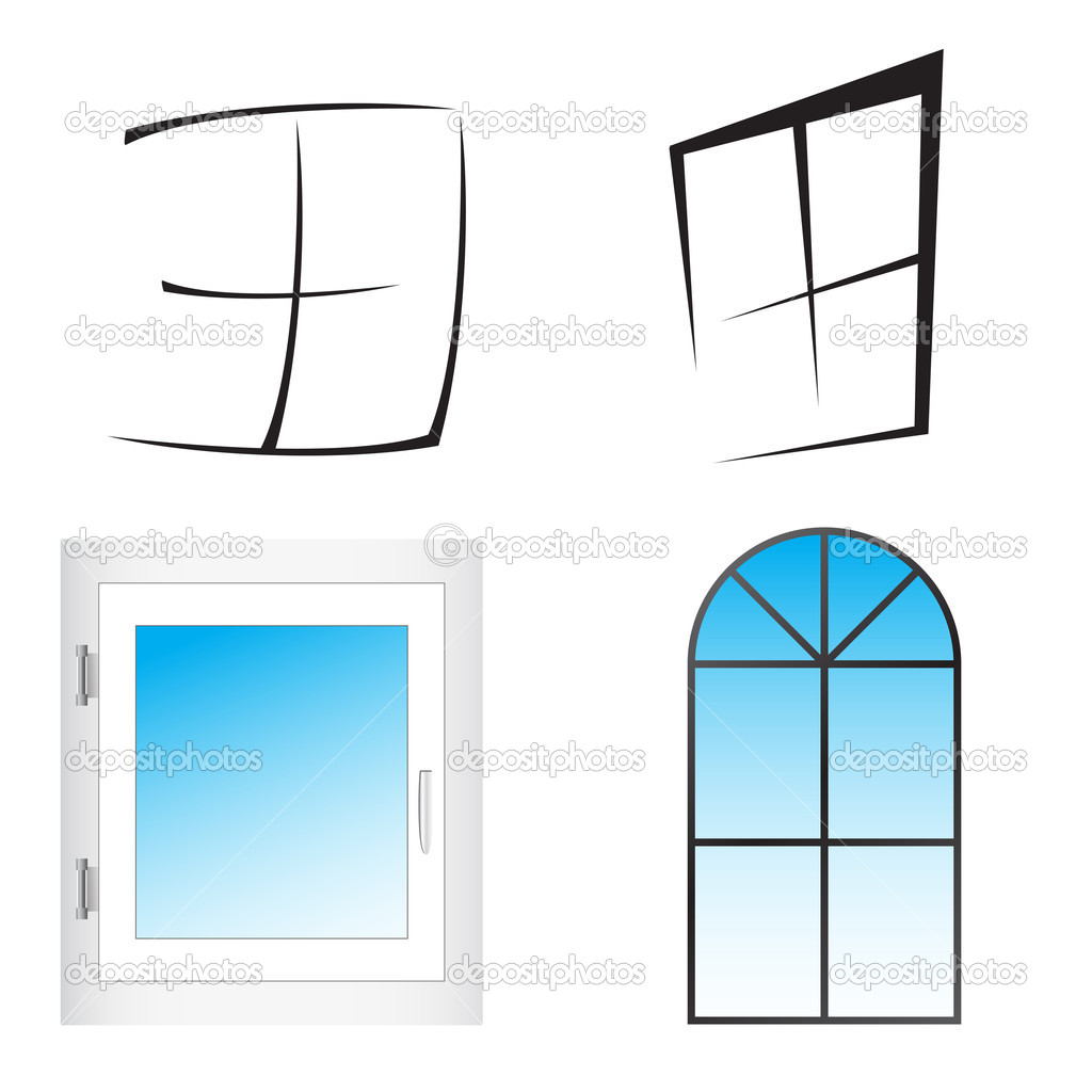 Kitchen Window Clip Art: Plastic Window. Vector Illustration