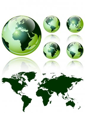 3d world map over the Earth Globe. 4 different views - vector illustration